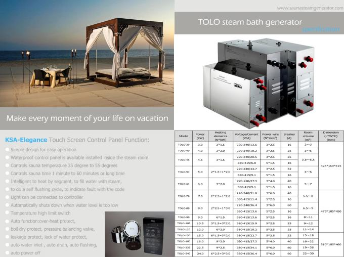 Wireless Steam Bath Residential Steam Generator With Press Bottom Controller
