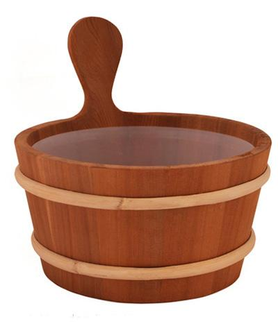 26cm Diameter Sauna Bucket With Plastic Inner Container And Spoon Classic Model Cedar