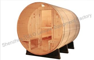 China Electric Barrel Sauna Cabins Solid Wood For Outdoor / Indoor supplier