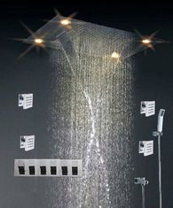 China High - End Color Changing Ceiling Mounted Rain Shower Head With Body Jet , Square Shape supplier