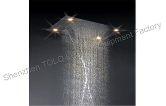China Large Ceiling Rain Showers Heads , Colorful Led Light Rainfall Shower Head supplier