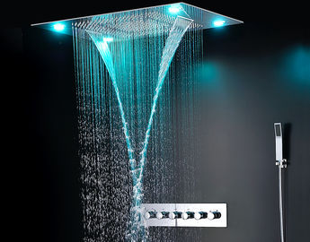 Ceiling Mounted LED Rain Showers Heads , Bathroom Water Saving Shower Head